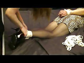 Unsuspecting crossdresser bound, gagged & robbed