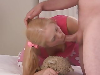 Cute blonde teen gets facial and ass pounded