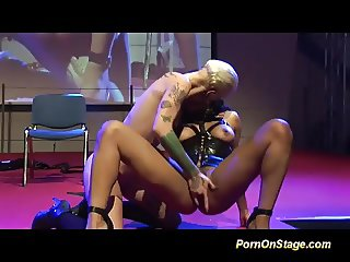 tattooed fisting babes on porn stage