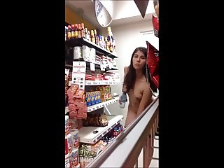 Crazy girl flashing live at asian shop