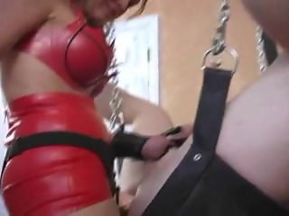 latex Mistress strapon fuck slave