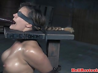 Dominated sub rides sybian and gags on dildo