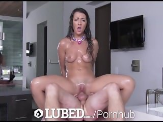 LUBED - Petite brunette Lily Adams Soapy Shower Sex