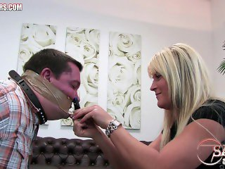 Man gets wrap gagged by two crazy blondes