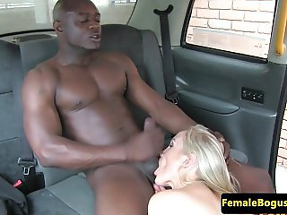 Busty english cabbie cockriding black dick