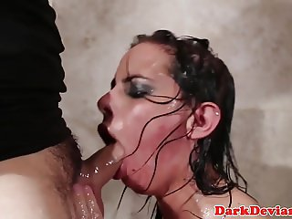 Busty throater gagging on intruders cock