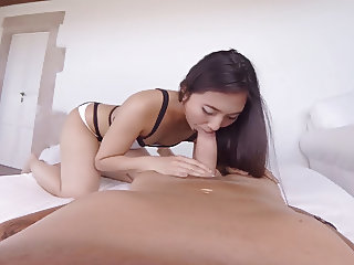 Virtual Reality amazing blowjob by horny Asian girl in POV
