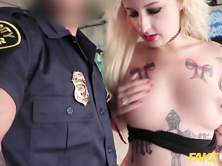 Fake Cop Slutty British holiday maker gets a facial from a cop