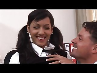 Anabel - exotic Czech beauty gets facialized by two guys