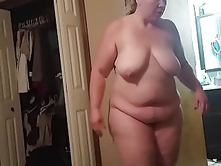 BBW wife getting ready for bed