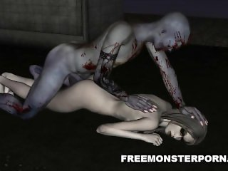 Foxy 3D cartoon zombie babe gets licked and fucked