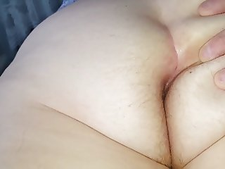 rubbing her big soft white hairy ass crack