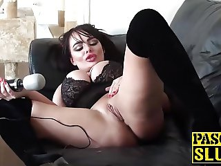Blonde babe Jaiden West with big fake boobs doing a solo