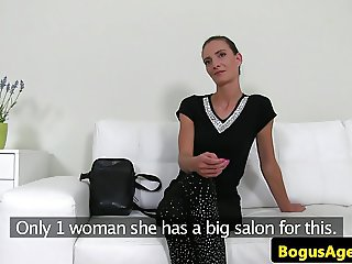 Smalltitted office amateur doggystyled by guy