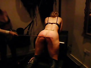 Hot blond gets a hard caning