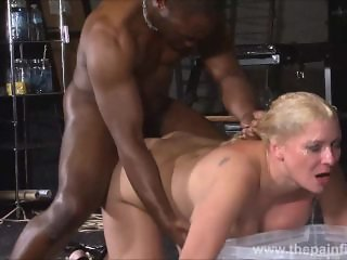 Rough interracial hardcore sex domination of busty Melanie Moon in pussy sm