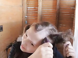 sexy funny girl shaves her head
