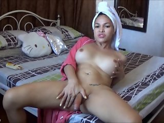 TS Filipina Horny Busty Shemale After Shower