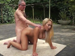 Incredible beauty young girl big tits fucked by old man in old young
