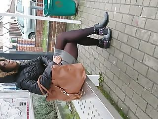 Black girl in Black opaque pantyhose Tights