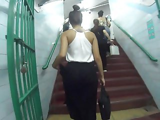 Nice dress ass voyeur subway subte Buenos Aires Argentina.