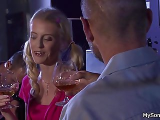 Blonde girl caught cheating with older man