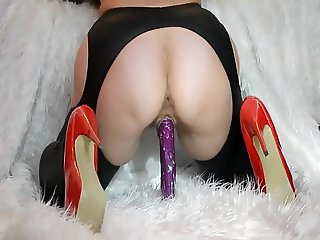 Wife masturbate riding a purple vibrator part.III