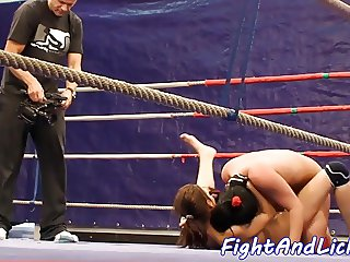 European babe pussylicking her opponent