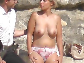 topless blonde strip tease lingerie seethrough beach exhib