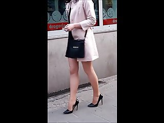 #11 Sexy girl with hot legs in mini skirt and high heels