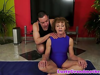 Lovely gilf banged after playing with toys
