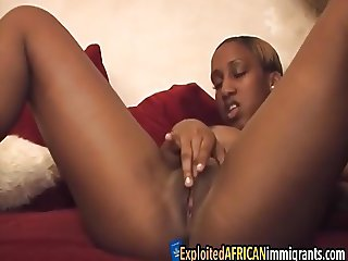 Ebony bitch enjoys masturbating