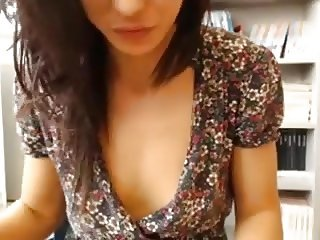 Pretty webcam brunette flashed