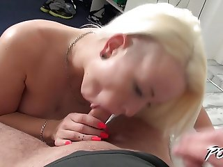 Povbitch - Busty blonde with perfect freckles spead her legs