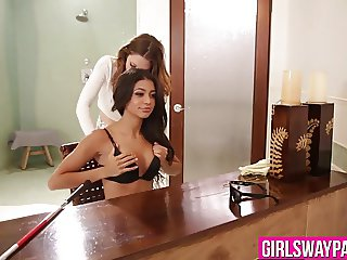 Cute lesbian babes fell in love and bang each other at once
