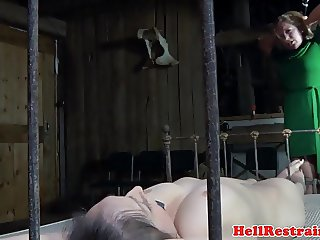 Tiedup bdsm subs bound together in rough trio