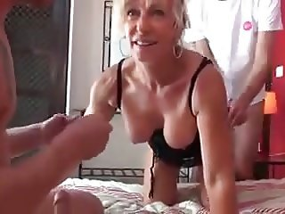 French Dame fucks with 3 boys