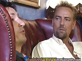 Interracial foursome in a hotel room
