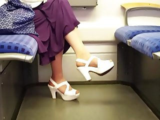 tan nylon feet in white high heels
