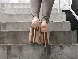 Walking In Extreme High Heels Platform Shoes