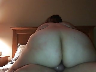 Chubby riding wife