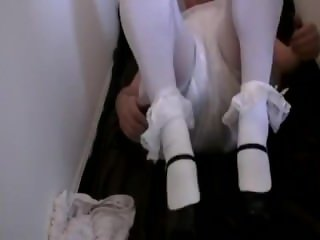 Diapered sissy peeing pantyhose gets double diapers