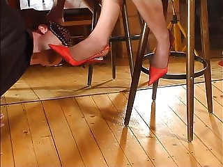 femdom footjob shoejob witj high heels and stockings