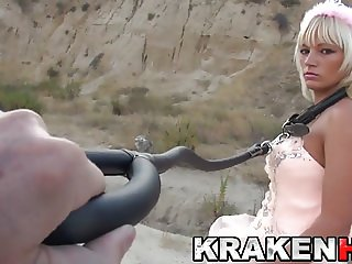 Krakenhot - Cute bride Estefani Tarrago in outdoor submision