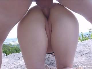 Public Fuck and Creampie! Risky Trail Clifftop Sex