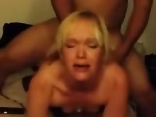 Blonde Wife lets BBC Rearrange her Guts in front of Hubby
