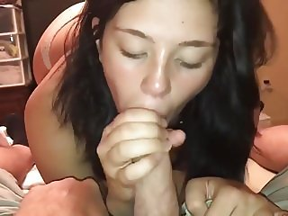 Cute amateur girlfriend sucking a cock in POV