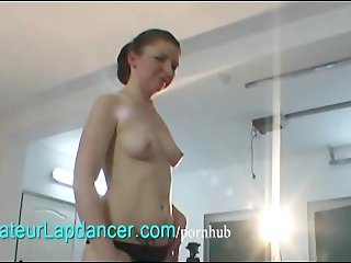 Natural czech girl lapdances for camera guy