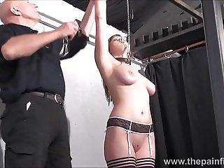 Blonde slave Taylor Hearts tit torments and kinky bondage of