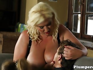 Busty plumpers jerking sub in fat threesome